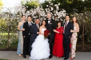 Parents, brothers, sister-in-law, brother's girlfriend, bride and groom