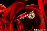 engagement ring in rose bouquet